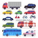 Transporte auto plano Coche, bicicleta y motocicleta del camino de ciudad El coche del coche de la ambulancia, de bomberos y el a stock de ilustración