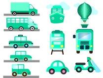 Transporte azul como la nave del autobús de los coches ilustración del vector