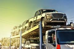 Transporte, carros novos, carro, novo, veículo, automóvel, indústria, aut Imagens de Stock