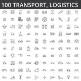 Transporte, coche, logística, vehículo, transporte público, autobús, tranvía, nave, envío, servicio auto, línea iconos del camión Imagen de archivo libre de regalías