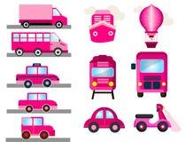 Transporte cor-de-rosa para o transporte feminino das meninas ilustração do vetor