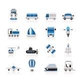 Transporte, curso e ícones da expedição Imagem de Stock