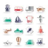 Transporte, curso e ícones da expedição Fotografia de Stock