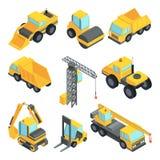 transporte 3d para a indústria da construção civil Isolado isométrico dos carros do vetor Imagens de Stock Royalty Free