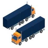 Transporte da carga Caminhão isométrico Transporte isométrico ilustração stock