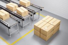 Transporte da distribuição no armazém da produção fotografia de stock