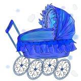 Transporte de bebê azul de imitação do vetor da aquarela Imagens de Stock