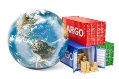 Transporte de carga e conceito globais da entrega Globo da terra com carro ilustração royalty free