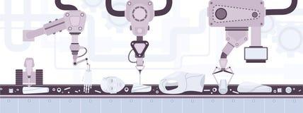 Transporte de correia industrial que transporta partes do corpo de robô com aparência humana e colocação industrial automática da ilustração stock