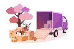 Transporte de cosas durante movimiento ilustración del vector