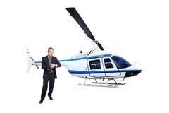 Transporte de espera do helicóptero do homem de negócios fotografia de stock royalty free