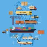 Transporte de frete e logística Infographics ilustração stock