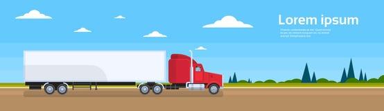 Transporte de la carga del envío de cargo del camino del remolque del camión stock de ilustración