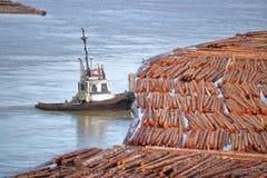 Transporte de la madera cruda en el río Imagenes de archivo