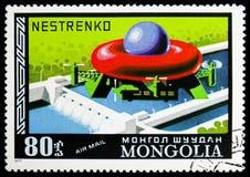 Transporte de la maquinaria, haber planeado rusa, correo aéreo, historia del serie de los dirigibles, circa 1977 foto de archivo