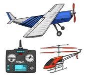 Transporte de RC, avião, modelos de controle remoto os brinquedos projetam elementos para emblemas, transmissão do afinador dos r ilustração do vetor