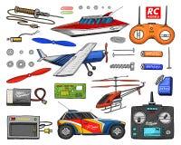 Transporte de RC, modelos de controle remoto brinquedos ou instrumentos ajuste detalhes dispositivos, equipamento, ferramentas pa ilustração stock