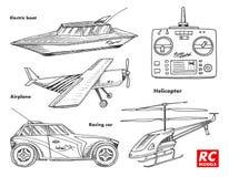 Transporte de RC, modelos de controle remoto elementos do projeto dos brinquedos para emblemas barco ou navio e carro ou máquina  ilustração do vetor