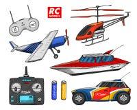 Transporte de RC, modelos de controle remoto elementos do projeto dos brinquedos para emblemas barco ou navio e carro ou máquina  ilustração stock
