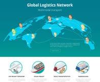 Transporte de trilho de transporte por caminhão da carga aérea isométrica lisa global da ilustração do vetor 3d do conceito da si Fotos de Stock