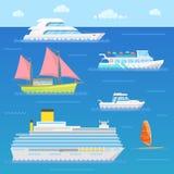 Transporte del agua con la nave, el trazador de líneas, el barco y el Windsurfer ilustración del vector