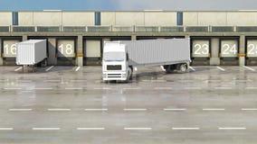Transporte del cargo - camión en el almacén stock de ilustración