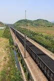 Transporte del ferrocarril del carbón Imagenes de archivo