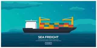Transporte del mar logístico Carga de mar Envío marítimo Comerciante Marine Buque de carga Ejemplo plano del vector ilustración del vector