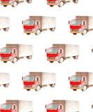 Transporte del modelo y logístico inconsútiles del camión del camión con el taxi rojo y la carrocería gris ilustración del vector