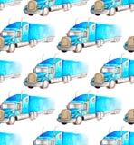 Transporte del modelo y logístico inconsútiles de truc azul del semi-remolque de la acuarela ilustración del vector