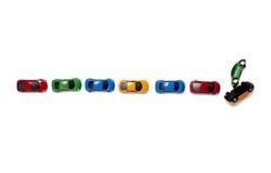 Transporte del tráfico de coches del juguete Fotografía de archivo