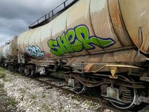 Transporte del tren de carromatos foto de archivo