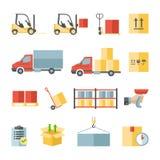 Transporte do armazém e ícones lisos da entrega Foto de Stock Royalty Free