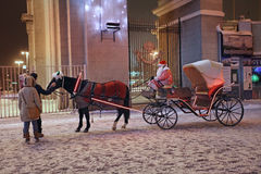 Transporte do cavalo de Santa Claus, Moscou Fotos de Stock