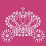 Transporte do conto de fadas do vintage isolado no fundo cor-de-rosa das pedras brilhantes Imagem de Stock