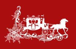 Transporte do conto de fadas do inverno e decoração da neve imagens de stock