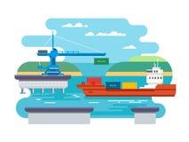 Transporte do frete da carga pela água ilustração do vetor