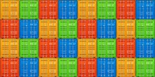 Transporte do frete, recipientes de carga empilhados Vetor sem emenda ilustração stock
