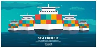 Transporte do mar logístico Frete de mar Transporte marítimo Comerciante Marine Navio de carga Ilustração lisa do vetor ilustração stock