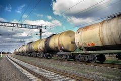 Transporte do petróleo e do combustível pelo trilho Fotografia de Stock Royalty Free