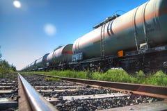 Transporte do petróleo e do combustível pelo trilho Imagens de Stock Royalty Free