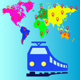 Transporte do trem do curso, ícones dos vetores Imagens de Stock