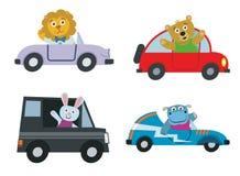 Transporte dos carros das crianças com grupo bonito do vetor dos animais dos desenhos animados Fotos de Stock Royalty Free