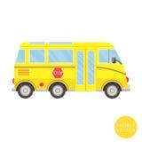 Transporte dos desenhos animados Ilustração do auto escolar Vista do lado Fotografia de Stock Royalty Free