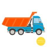 Transporte dos desenhos animados Ilustração do caminhão basculante Vista do lado Imagem de Stock
