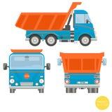 Transporte dos desenhos animados Ilustração do caminhão basculante Vista do lado, parte traseira, dianteira ilustração royalty free
