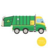Transporte dos desenhos animados Ilustração do caminhão de lixo Vista do lado Imagem de Stock
