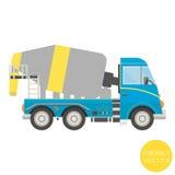 Transporte dos desenhos animados Ilustração do caminhão do misturador Vista do lado ilustração royalty free