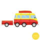 Transporte dos desenhos animados Van com ilustração do reboque Vista do lado Imagens de Stock Royalty Free