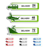 Transporte, etiquetas da entrega - carro, navio, plano Fotografia de Stock